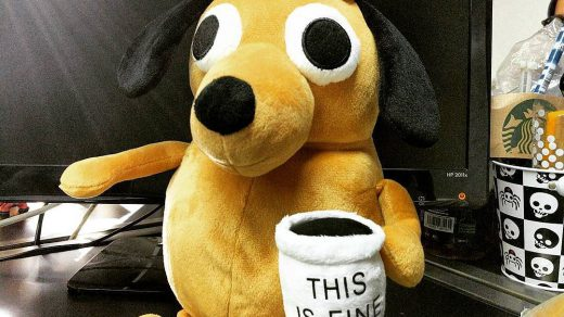 "The ""this is fine"" dog as a stuffed animal"